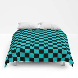 Black and Cyan Checkerboard Comforters