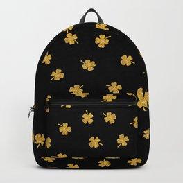 Golden shamrocks Black Background Backpack