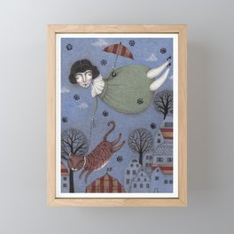 There goes the Cat Framed Mini Art Print