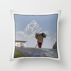 WOOD CARRIER AND MACHAPUCHARE IN NEPAL Throw Pillow