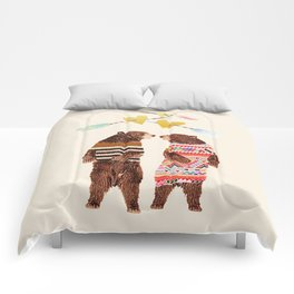 Dancing Bear Couple in Love Comforters