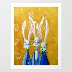 rabbit family Art Print