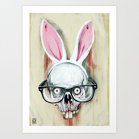 """Hydrophobic Nerd Bunny Scalp"" Art Print"
