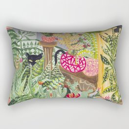 Black cat in the Garden Rectangular Pillow