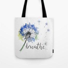 Breathe! Dandelion Floral Botanical Art Tote Bag