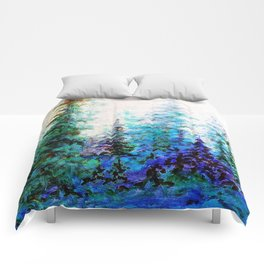 Mountain Landscape Pines In Blue-Greens-Purple Comforters