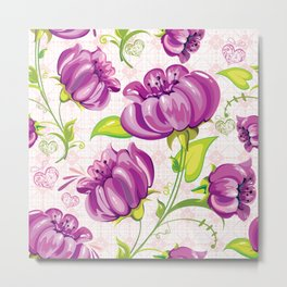 Purple Floral Wallpaper Abstract Design Metal Print