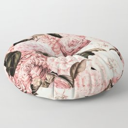 Vintage & Shabby Chic Pink Floral camellia flowers watercolor pattern Floor Pillow