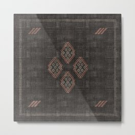 Kilim in Black and Pink Metal Print