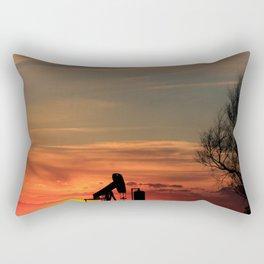 Kansas Sunset with an Oil Well pump silhouette Rectangular Pillow
