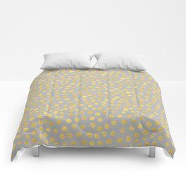 DOT PATTERN - gray and gold Comforters