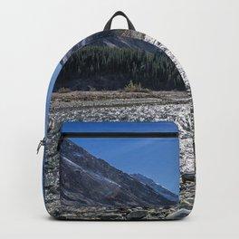 Bow lake Mountain lake rocks summer forest Alberta Canada Backpack