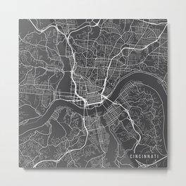 Cincinnati Map, USA - Gray Metal Print