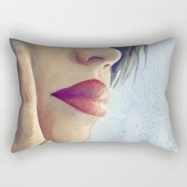 Beautiful Woman Lost In Thought Rectangular Pillow