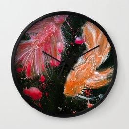 Splendens Splatter in Red and Orange Wall Clock
