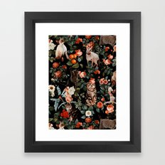 Cat and Floral Pattern II Framed Art Print
