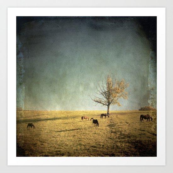 5 horses & a tree Art Print