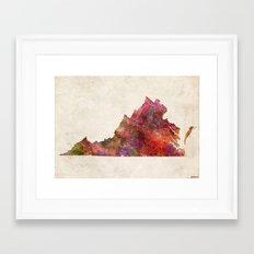 Virginia map landscape Framed Art Print