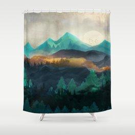 Green Wild Mountainside Shower Curtain