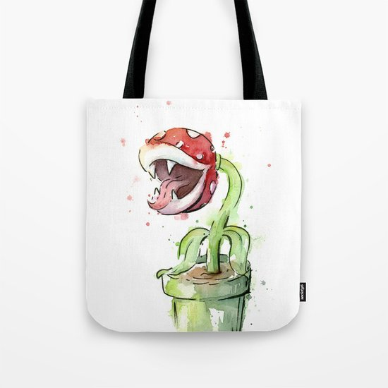 Piranha Plant Art Nintendo Mario Videogame Geek Gaming Tote Bag