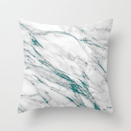 Gray Marble Aqua Teal Metallic Glitter Foil Style Throw Pillow