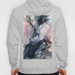Blush, Navy and Gray Abstract Calm Clouds Hoody