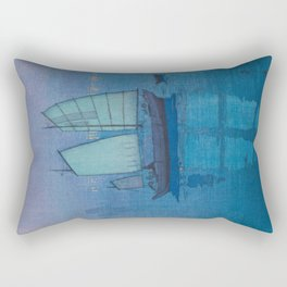 Sailing Boats, Night (Hansen, Yoru) Hiroshi Yoshida Vintage Japanese Woodblock Print Rectangular Pillow