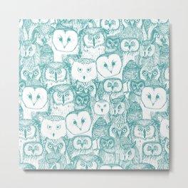 just owls teal blue Metal Print