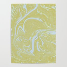 Lemon yellow pastel blue marbled swirls trendy abstract pattern Poster