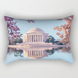 Cherry Blossoms at Jefferson Memorial in Washington DC Rectangular Pillow