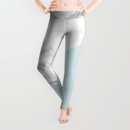 Marble + Pastel Blue Leggings