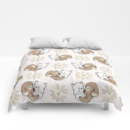 Vector cute cat dog hug hearts Seamless repeat pattern Comforters