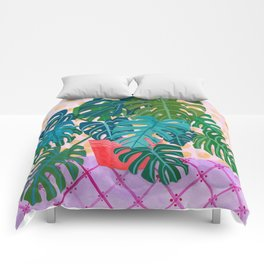Split Leaf Philodendron Houseplant Painting Comforters