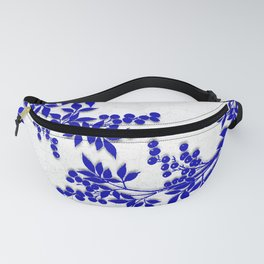 BLUE AND WHITE  TOILE LEAF Fanny Pack