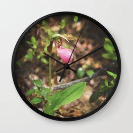 Classic Lady Slipper Orchid Wall Clock