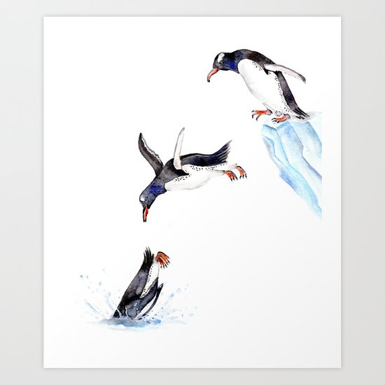Jumping Penguin Art Print