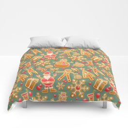 santa claus, gingerbread man, gifts and snowflakes christmas pattern Comforters