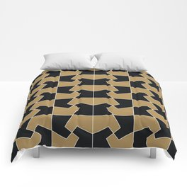 Abstract hexagon periodic tessellation pattern gamboge black Comforters