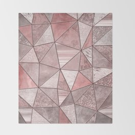 Soft Pink Coral Glamour Gemstone Triangles Throw Blanket