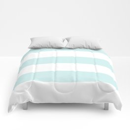 Wide Horizontal Stripes - White and Light Cyan Comforters