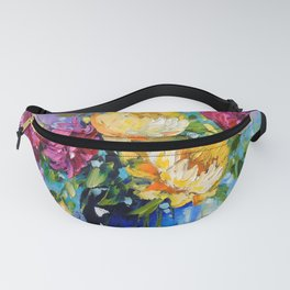 Bouquet of peonies in a vase Fanny Pack