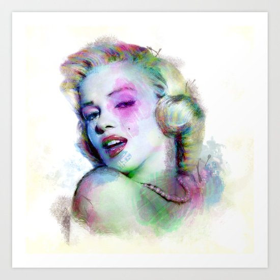 Marilyn under brushes effects Art Print