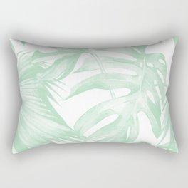 Light Green Tropical Palm Leaves Print Rectangular Pillow