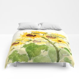One sunflower watercolor arts Comforters