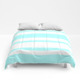 Mixed Horizontal Stripes - White and Celeste Cyan Comforters