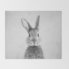 Rabbit - Black & White Throw Blanket