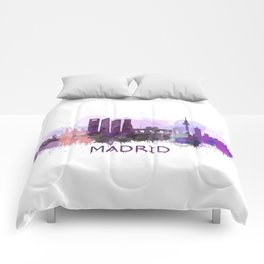 Madrid City Skyline HQ Comforters