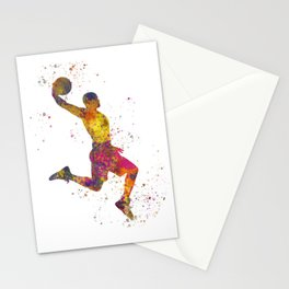 Basketball player 02 in watercolor Stationery Cards