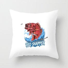 Angler Fish Red Snapper Fisherman Artwork Vector Throw Pillow