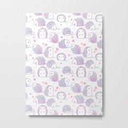 Spring Hedgehog Pattern Metal Print